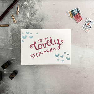 'To My Lovely Step Mum' Letterpress Card