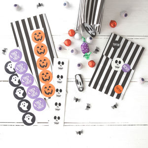 Halloween Treat Bags With Stickers - ribbon & wrap
