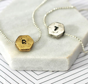 Personalised Hand Stamped Hexagon Necklace