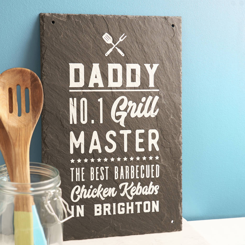 Personalised 'Grill Master' Bbq Slate Sign