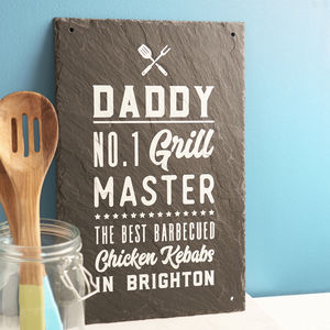 Personalised 'Grill Master' Bbq Slate Sign - picnics & barbecues