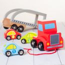 Personalised Red Wooden Pull Along Car Transporter Toy