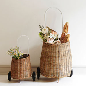 Mummy And Me Wicker Shopping Trolley - storage