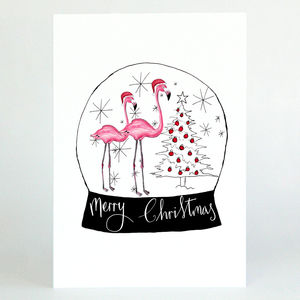 Snow Globe Flamingo Christmas Card