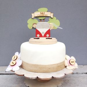 Personalised Camper Van Wedding Cake Topper