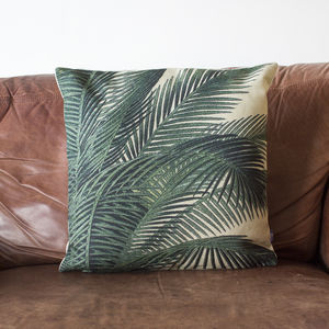 Botanical Palm Leaf Printed Cushion - cushions