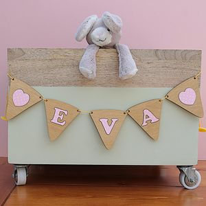 Personalised Girls Wooden Bunting - baby's room