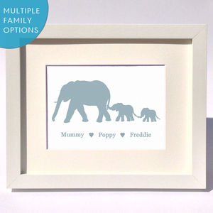 Personalised Elephant Family Print - nursery pictures & prints