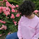 Personalised Hand Embroidered Pink Jumper Left Breast