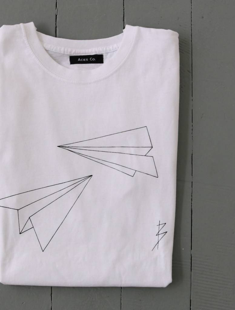 White origami plane t shirt by acies co notonthehighstreet white origami plane t shirt jeuxipadfo Gallery
