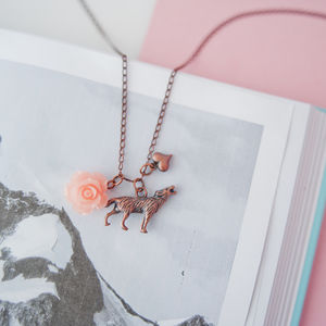 Copper Wolf Charm Necklace