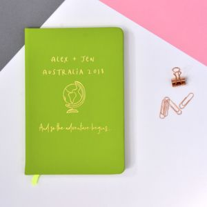 Personalised Name And Destination Travel Journal - frequent traveller