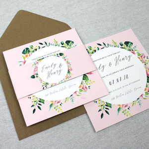 'The Emma' Floral Wreath Wedding Invitation