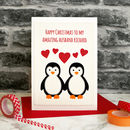 'Penguins In Love' Handmade Christmas Card