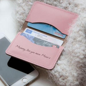Personalised Slim Pink Leather Card Case