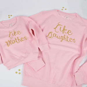 'Like Mother Like Daughter' Baby Pink Sweatshirt Set - mother & child sets
