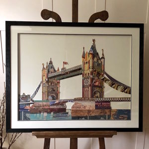 Tower Bridge London 3D Collage In Natural Wooden Frame - mixed media & collage