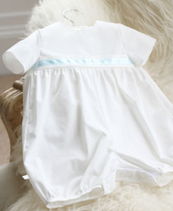 Boys Charlie Short Leg Cotton Romper Suit - christening wear
