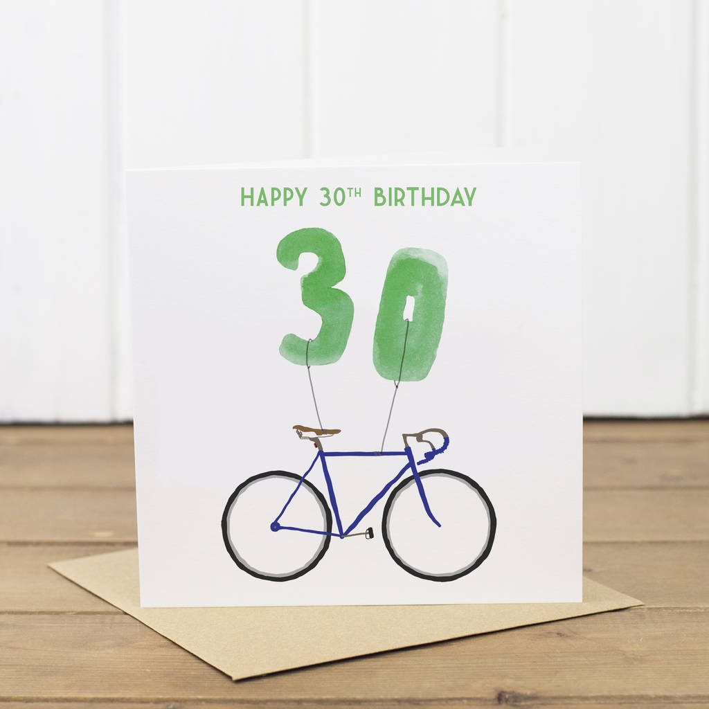 30th Birthday Bike With Balloons Card