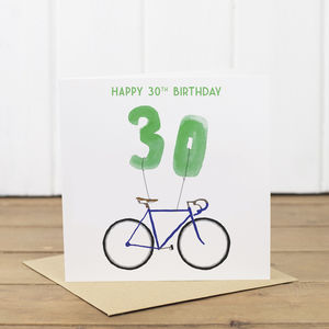 30th Bicycle Balloon Birthday Card - birthday cards