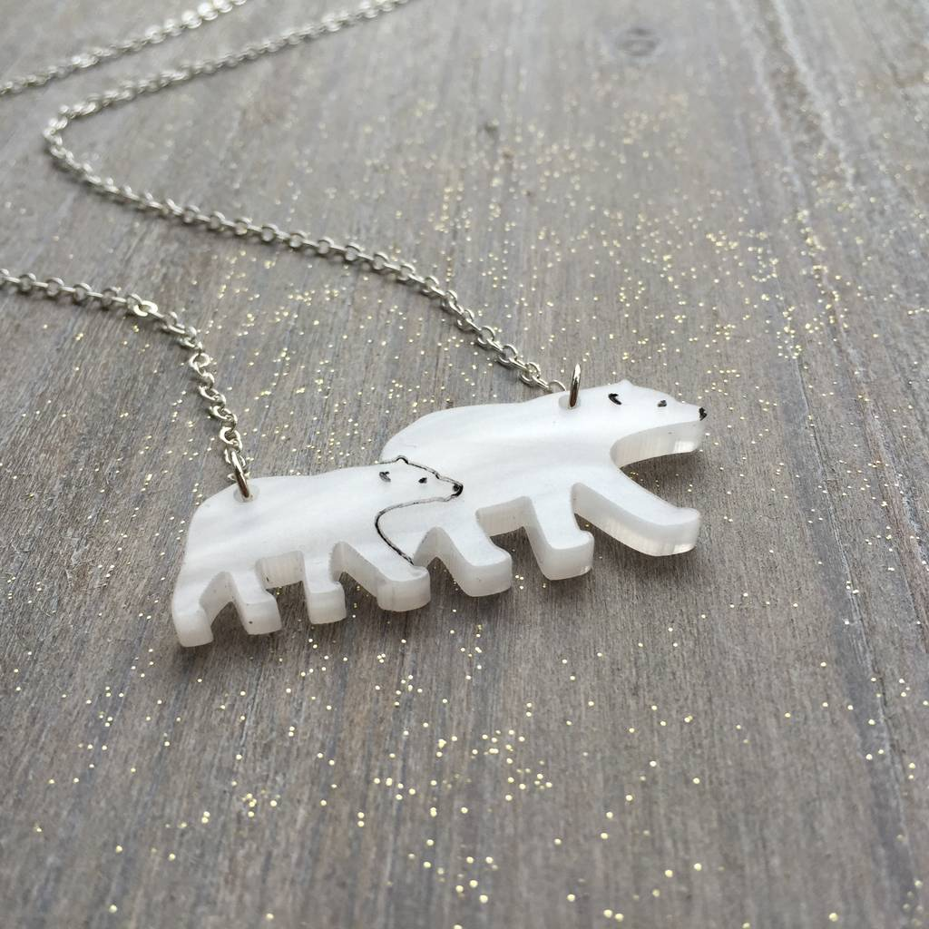 lilysnest products silver tag bar necklace bear or mama gold