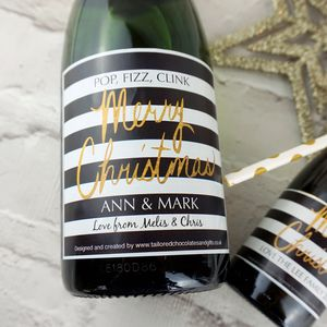 Monochrome And Gold Christmas Champagne/Prosecco Label