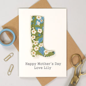 Personalised Liberty Welly Mother's Day Card
