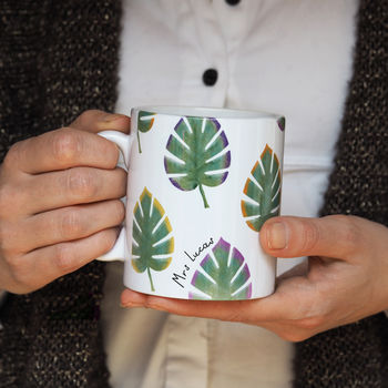Personalised Monstera Leaf Teacher's Mug