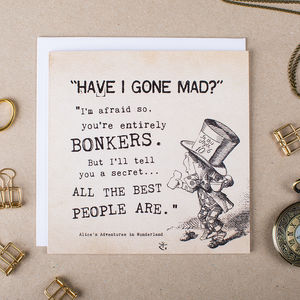 Alice In Wonderland Greetings Card 'Bonkers' - all purpose cards