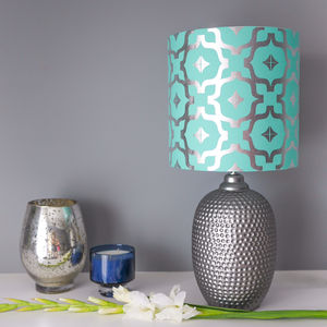 Metallic Lampshade In Teal And Silver - lampshades