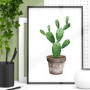 Boho Cactus Watercolour Print In Green Brown
