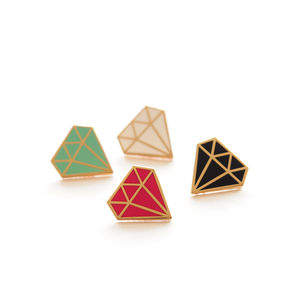 Diamond Enamel Pin Badge