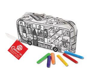 Colour In London Bus Pencil Case With Fabric Pens