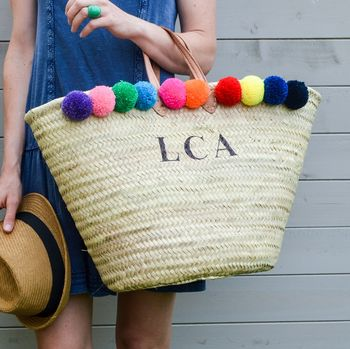 Pom Pom Monogram Straw Basket