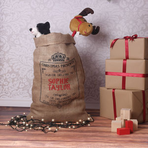 Personalised Christmas Sack Hessian