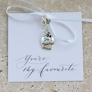 Number One Teacher Keepsake Charm - summer sale