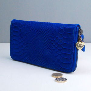 Personalised Ladies Snakeskin Leather Zip Purse