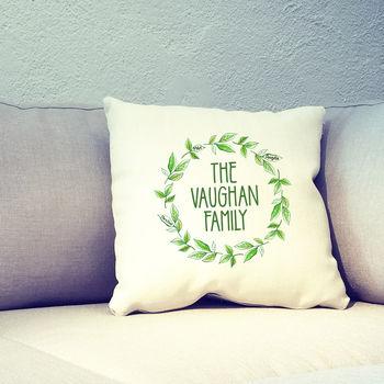 Personalised Family Tree Wreath Leaves Cushion Cover