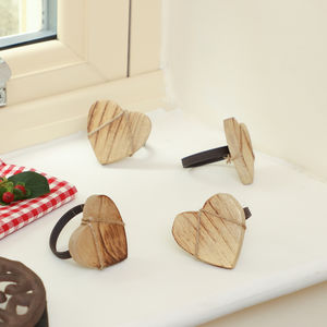 Set Of Four Nordic Heart Wooden Napkin Rings - dining room