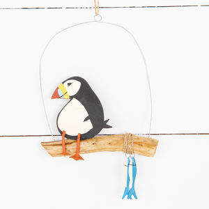 Hanging Puffin With His Fish On Costal Decoration