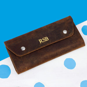 Personalised Leather Travel And Currency Wallet - passport & travel card holders