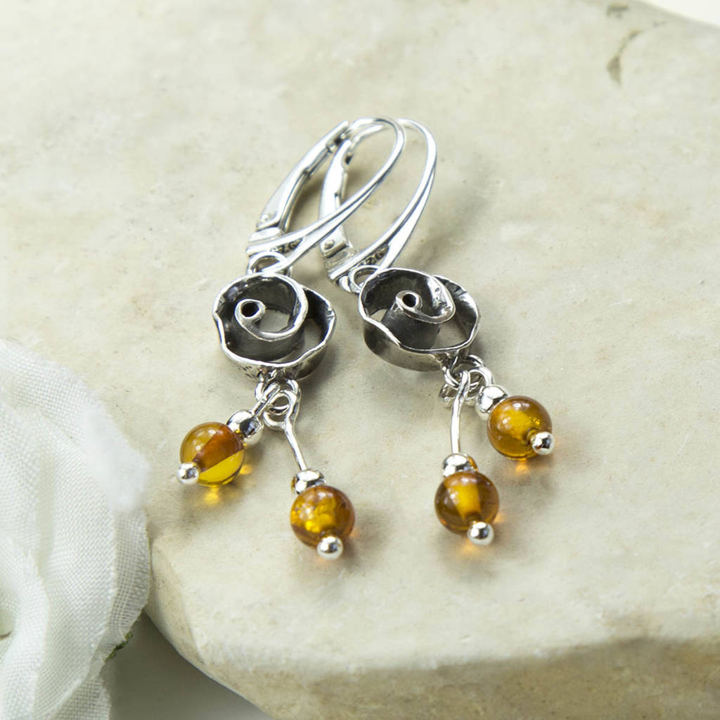 65d8e6c3a sterling silver amber rose earrings by martha jackson sterling ...