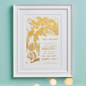 Alice In Wonderland Bonkers Metallic Foil Print - gifts for children