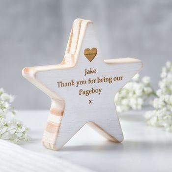 Personalised Page Boy Wooden Star Keepsake