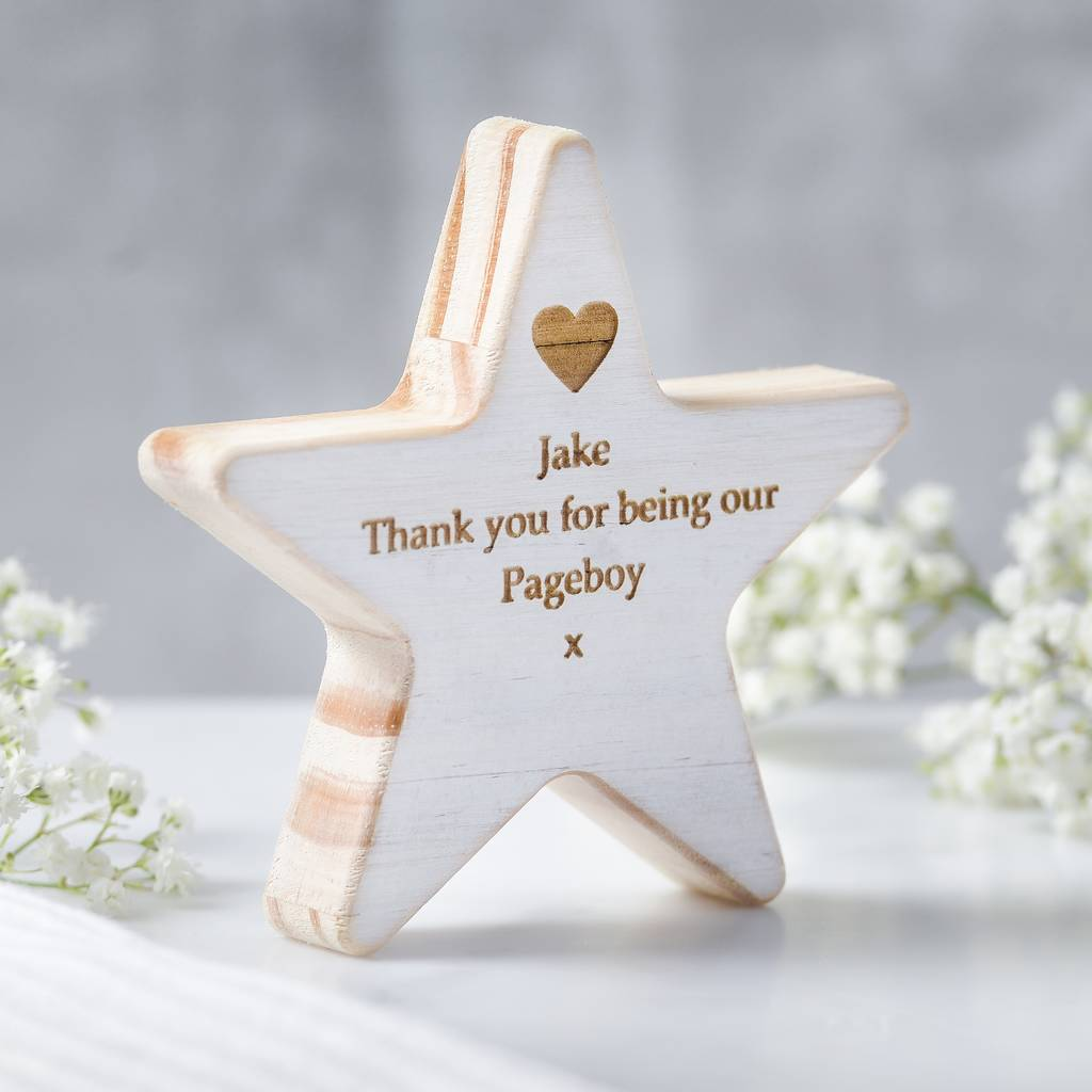 personalised page boy wooden star keepsake by edgeinspired ...