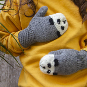 Child And Baby Panda Mittens With Strings - hats, scarves & gloves