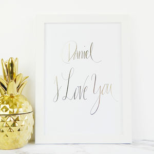 Personalised Love Gold Foil Print - posters & prints