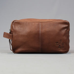 Brown Leather Wash Bag - wash & toiletry bags