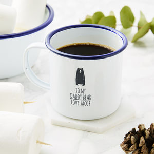 Personalised Daddy Bear Enamel Father's Day Mug