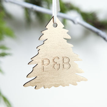 Personalised Gold Couples Christmas Tree Bauble